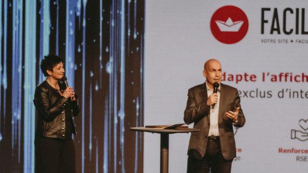 Cathy Collart-Geiger (Picard) et Pierre-Alexandre Mouret (Pharmavie) lors de la cérémonie de 2020. - © Républik Retail