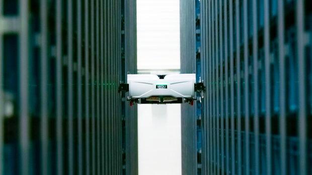Les robots disposeront de la technologie double deep pour attraper des bacs en double profondeur. - © Exotec
