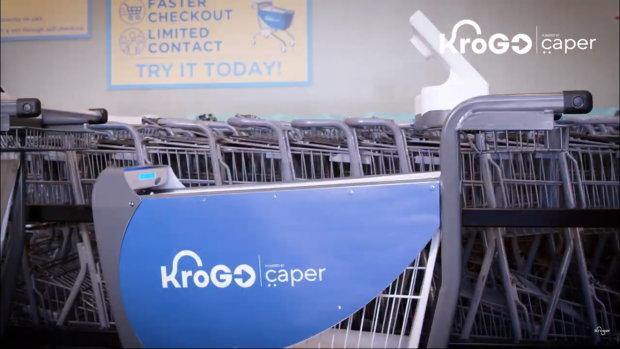 Le chariot connecté de Caper habillé par Kroger. - © D.R.