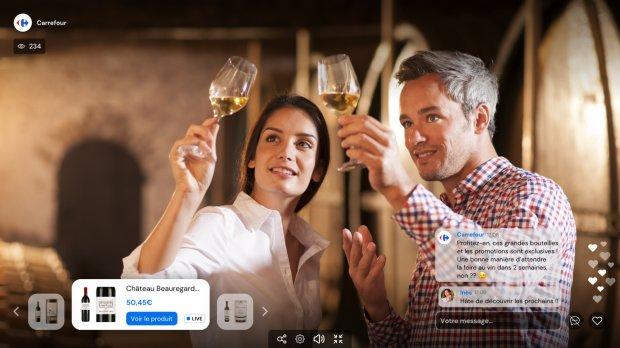 Le 13 avril, Carrefour réalisera sa première opération de live commerce sur le thème du vin. - © Carrefour