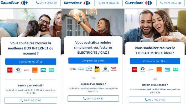 Carrefour propose un service de comparaison pour les mobiles, les box internet et l'électricité/gaz. - © D.R.