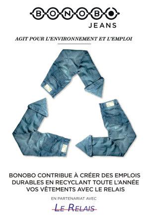 Voici une publicité datant de 2014 pour valoriser le recyclage des vêtements. - © Bonobo jeans