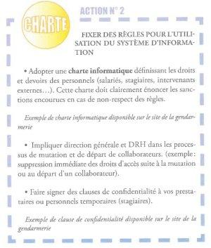 Créer une charte sur l'utilisation du système d'information est un impératif. - © Gendarmerie Nationale